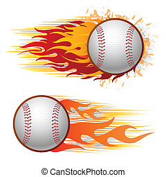 baseball with flames - baseball sport design elements