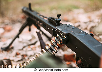 German military ammunition - machine gun of World War II on...