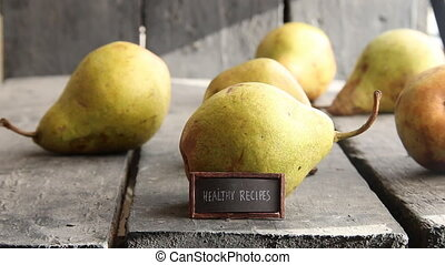 healthy recipes text on vintage label and pears - healthy...
