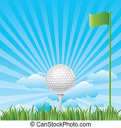 golfball with blue sky - golf on grass with blue sky