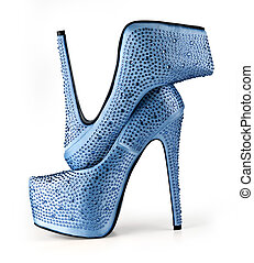 blue woman shoes isolated on white background with clipping...