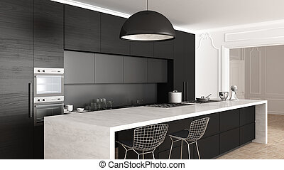 Classic kitchen, minimalistic interior design, close up