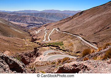 Curves of ruta 52 from Purmamarca to Salinas Grandes...