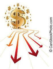 arrow and dollar