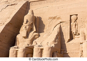 Gigant, Forntida, skulpterar, egyptisk, Faraoner, tempel,...