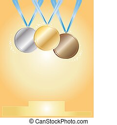medal ceremony - a hand drawn illustration of award medals...