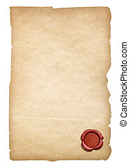 Old paper with wax seal isolated. Clipping path is included....