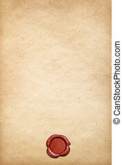 Old parchment paper background with red wax seal - Old...
