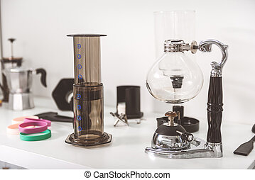 Interesting equipment for making coffee - Modern flask is...