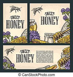 Set horizontal, vertical and square and posters with honey,...