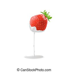 Sweet Strawberries - Cream Pouring from Ripe Strawberries...