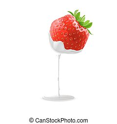 Sweet Strawberries - Cream Pouring from Fresh Ripe...