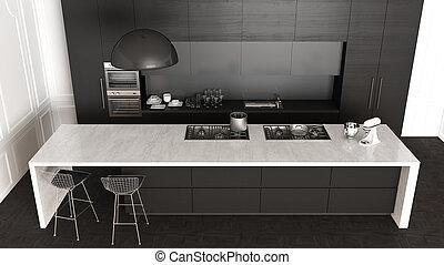 Classic kitchen, minimalistic interior design, top view