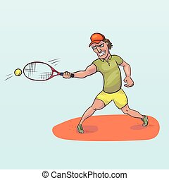Tennis player striking a ball vector illustration