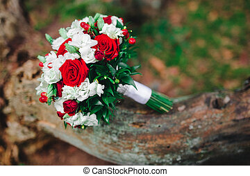 wedding bouquet with white and red flowers