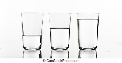 Three glasses of water on white background