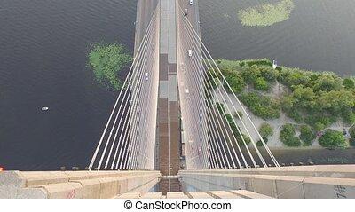 Flying over the South bridge in Kiev. Ukraine - Flying over...