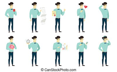 Vector set of illustrations with business people. - Asian...