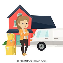 Woman moving to house vector illustration. - Young homeowner...