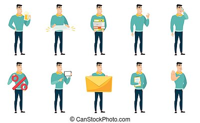 Vector set of illustrations with business people. - Cheerful...