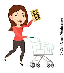 Woman running in hurry to the store on sale. - Woman running...