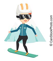 Young woman snowboarding vector illustration. - Woman...
