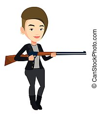 Hunter ready to hunt with hunting rifle.