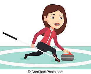 Curling player playing on the rink. - Young caucasian...