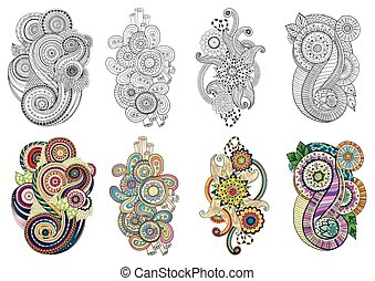 Floral doodle elements in vector. Set of henna paisley...