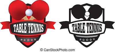 table tennis or ping pong logo, badge or shield - shield or...