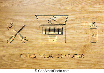 fixing your computer, laptop with wrench & bug spray -...