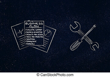 fixing your business plan, docs with wrench & screwdriver -...
