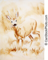 painting of young deer in wild landscape with high grass....