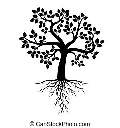Black Tree with Roots. Vector Illustration.