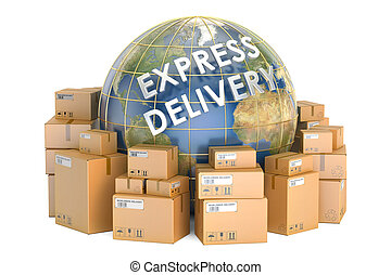 Express delivery and worldwide shipping concept, parcels with Earth. 3D rendering