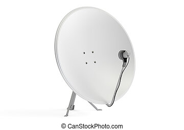 Satellite dish, 3D rendering isolated on white background