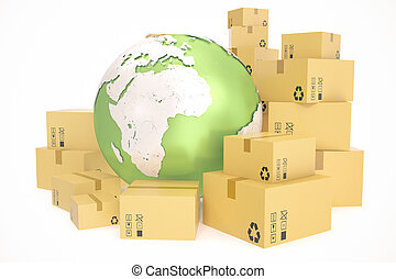 Cardboard box shipping and worldwide delivery business...