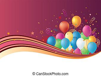 balões, celebração, fundo