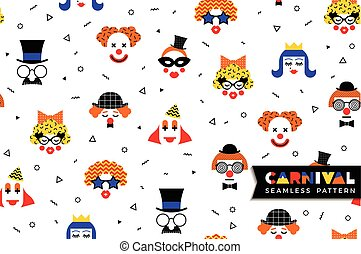 Carnival seamless pattern in Memphis style. Vector...