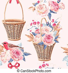 Basket with flowers seamless - Vintage basket with roses...