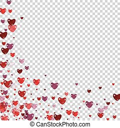Vector illustration with red love hearts on checkered background