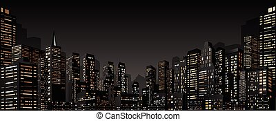 Cityscape with Group of Skyscrapers. Vector Banner
