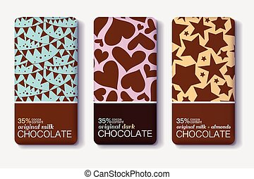 Vector Set Of Chocolate Bar Package Designs With Flags,...