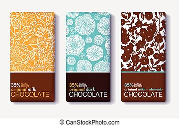 Vector Set Of Chocolate Bar Package Designs With Modern...