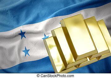 shining golden bullions on the honduras flag - gold...