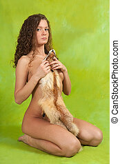 naked girl with fox fur - naked curly girl with fox fur over...