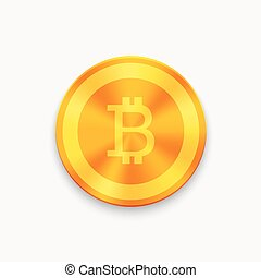 Vector Bitcoin future currency coin. blockchain icon. -...