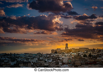 View of the Medina and the castle kasbah in Sousse, Tunisia....