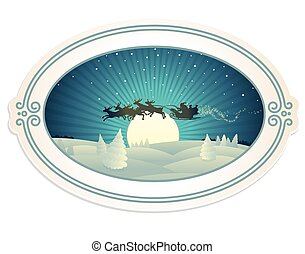 Retro Christmas Paper Label with Xmas Illustration