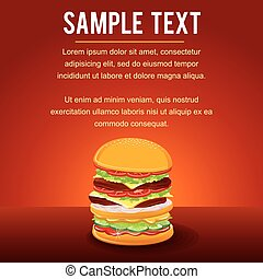 Hamburger on Red Background with copy space